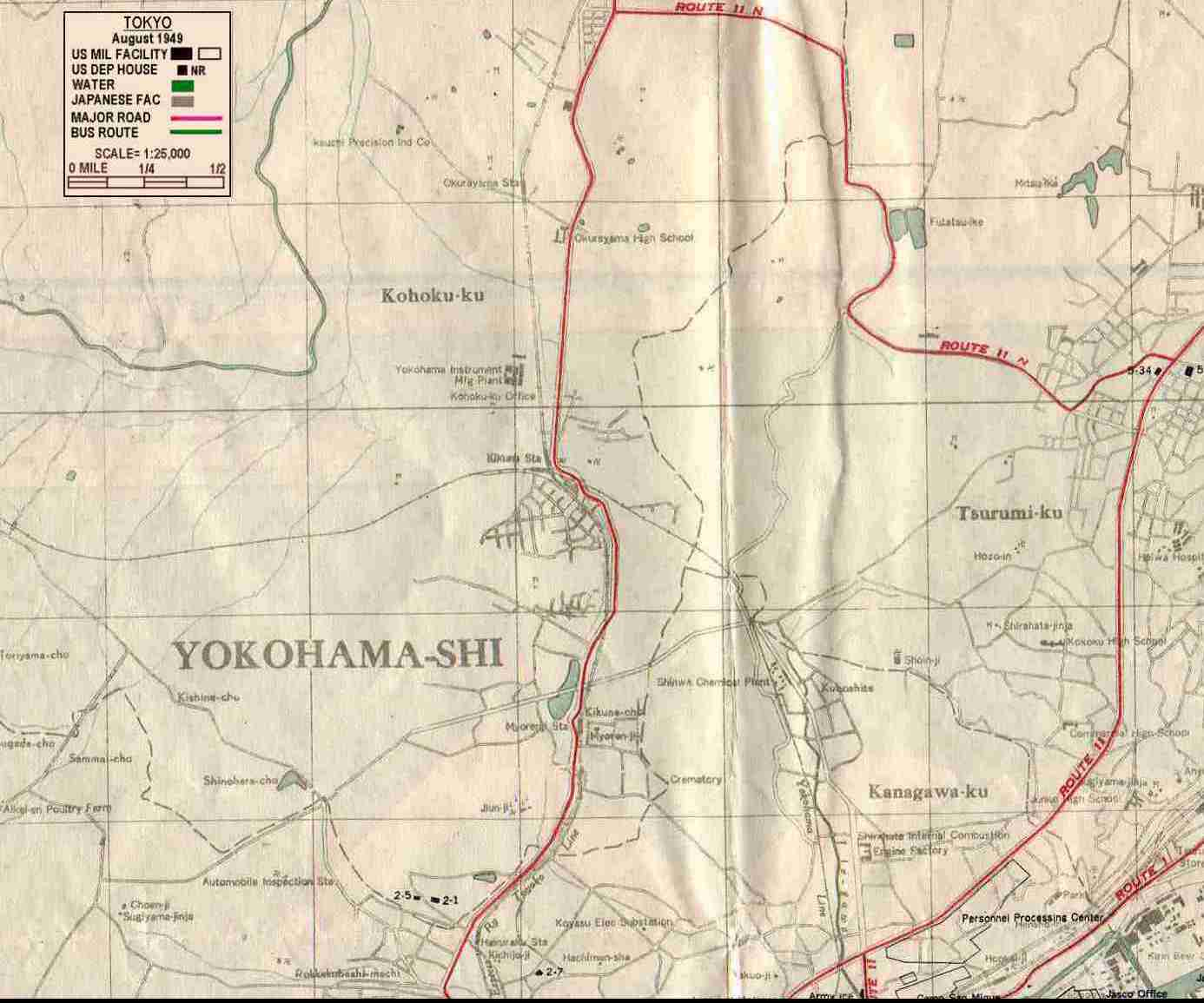 1949 Yokohama map